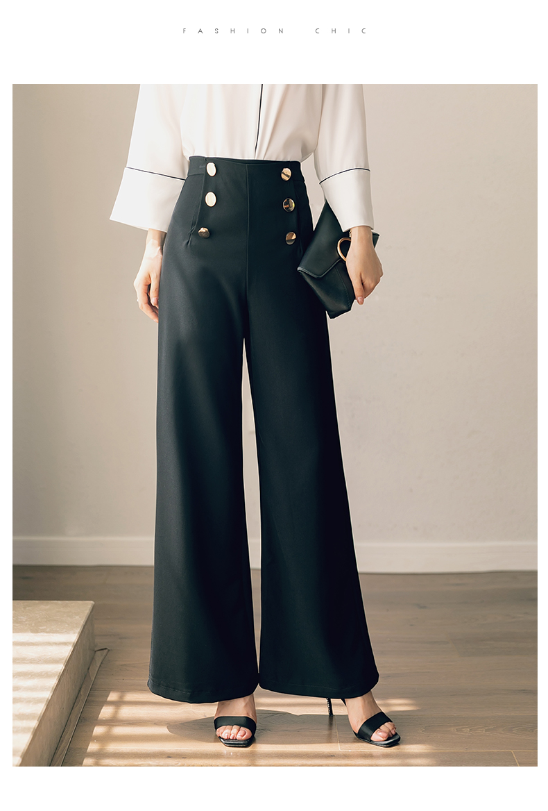 HTB1a9NxMMHqK1RjSZFkq6x.WFXaQ - British OL style women's high waist wide leg pants casual loose female full length trousers with double gold buckles PA001