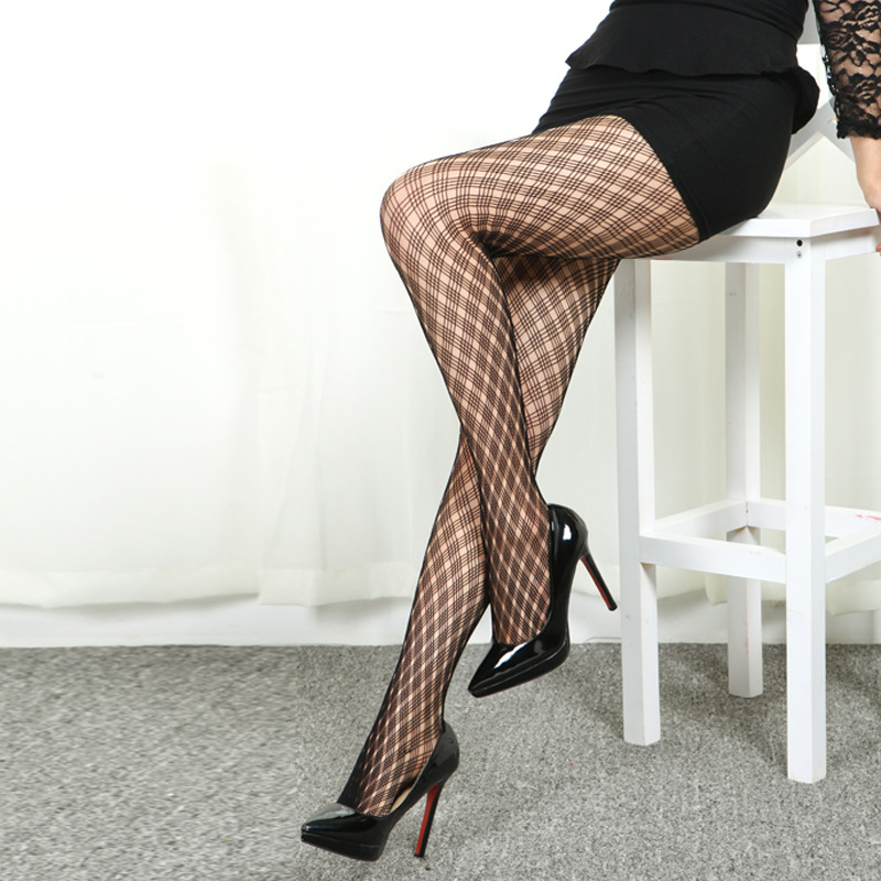 LIMSISNIW Small Plaid Women Fashion Black Sexy Fishnet Tights Good Elasticity Ladies Gingham Pattern Hot Simple Slim Pantyhose