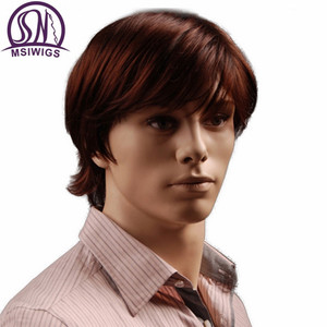 Image 2 - MSIWIGS 8 Inch Short Hair Synthetic Wigs for Men Natural Reddish Brown Straight Male Wig with Bangs Heat Resistant