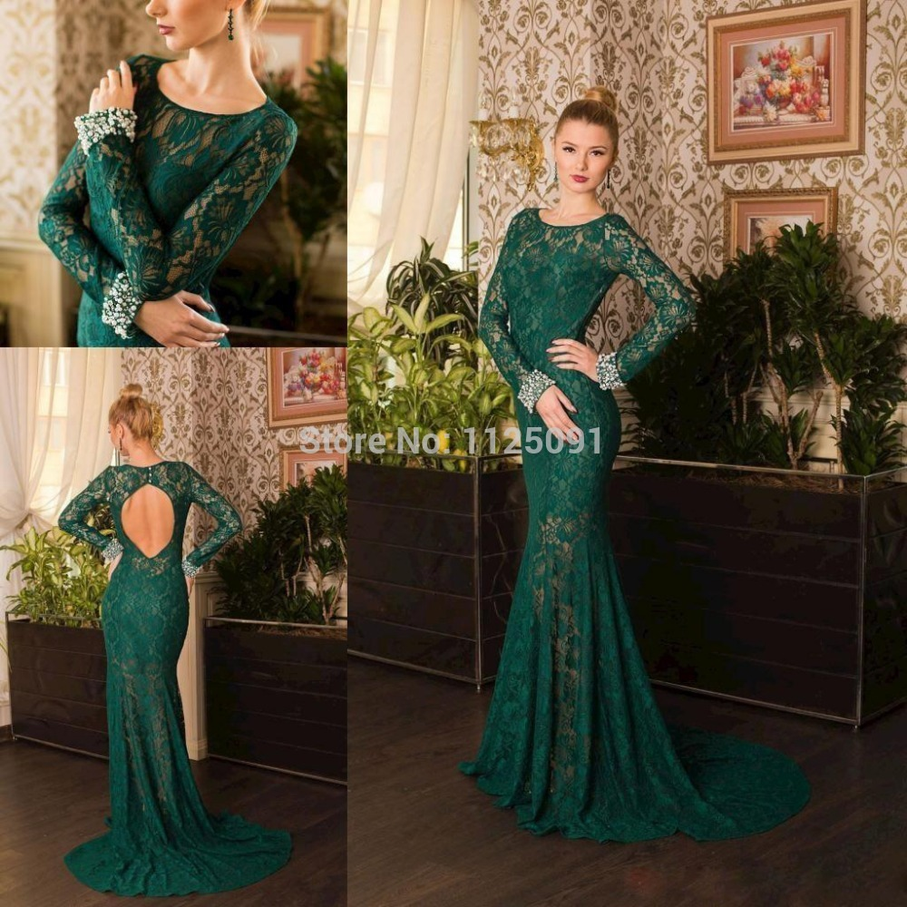Green Long Sleeve Lace Prom Dresses