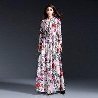 Новое поступление весна-лето 2016 винтажные Модные женские шифоновое длинное платье с розами модели животных печати Брендовые макси платья