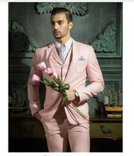 2017 Latest Coat Pant Designs Hot Pink Men Suit  Slim Fit Wedding Suits for Men Skinny Custom Groom Blazer 3 Piece Tuxedo Ternos
