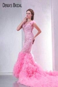 Image 3 - Fotos reais rosa querida frisado apliques sem costas sereia vestidos de noite andar de comprimento capela trem longo vestidos de baile