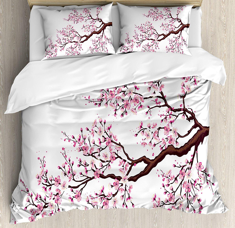 Ensemble de housse de couette japonaise branche d'un arbre Sakura florissant fleurs de cerisier thème printemps Art ensemble de literie rose marron