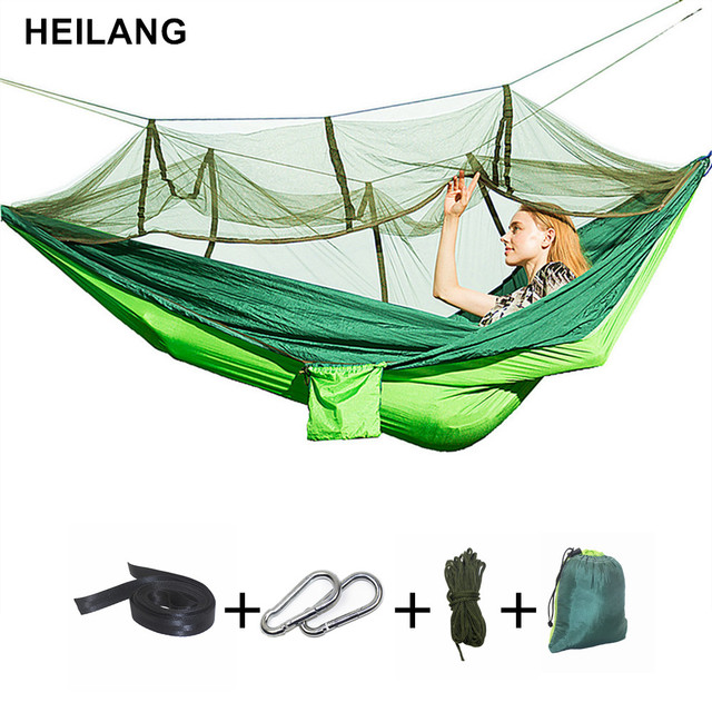 260*140 Outdoor Camping Parachute Hammock Mosquito Net Double Leisure  Sleeping Hanging Chair Tent Travel