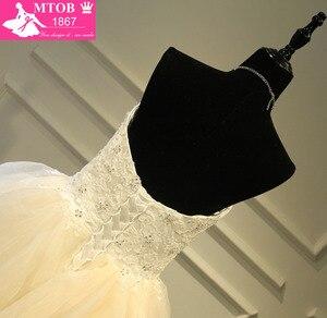 Image 5 - 세련된 섹시한 연인 샴페인 웨딩 드레스 레이스 구슬 장식 주름 치마 로브 드 mariage acutaul 이미지 mtob1793
