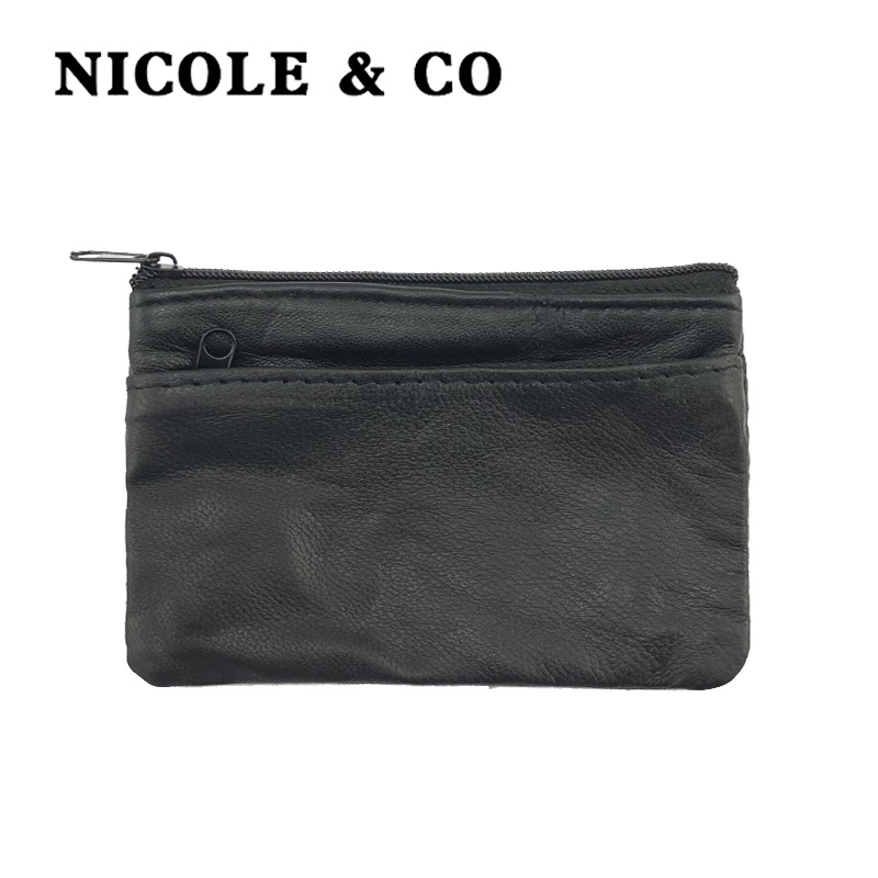 NICOLE & CO 2019 Men Leather Coin Purse Black  Mini Wallet Solid Genuine Leather Zipper Small Purse Wallet Change Bag