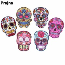 Prajna Flower Rose Mexican Skull Rock Patch Punk Biker Iron On Patches Stranger Things Cheap Embroidered For Clothing