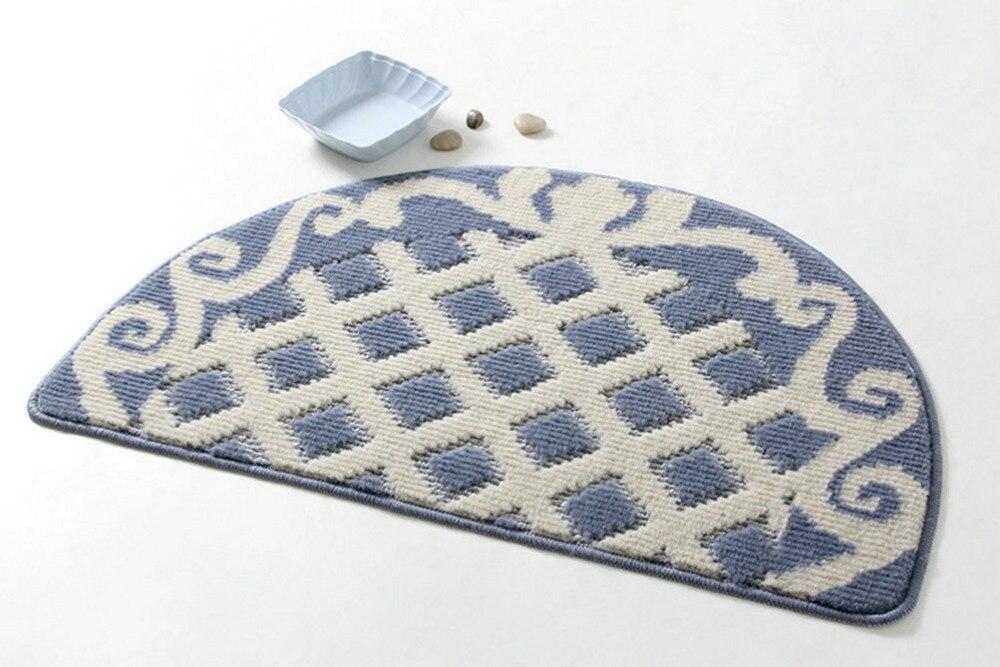 NiceRug 48x78 cm tapis de chambre tapis de sol demi-rond en forme antidérapant Absorption d'eau bleu grille tapis paillasson pour cuisine Bathro - 2