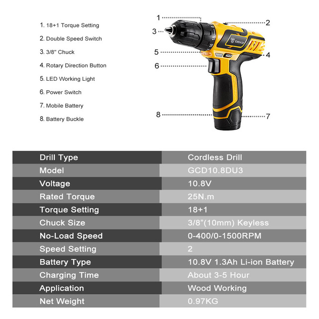 Electric Drill 10.8V DC New Design Household Lithium-Ion Battery Mini Cordless Drill/Driver Power Tools  2