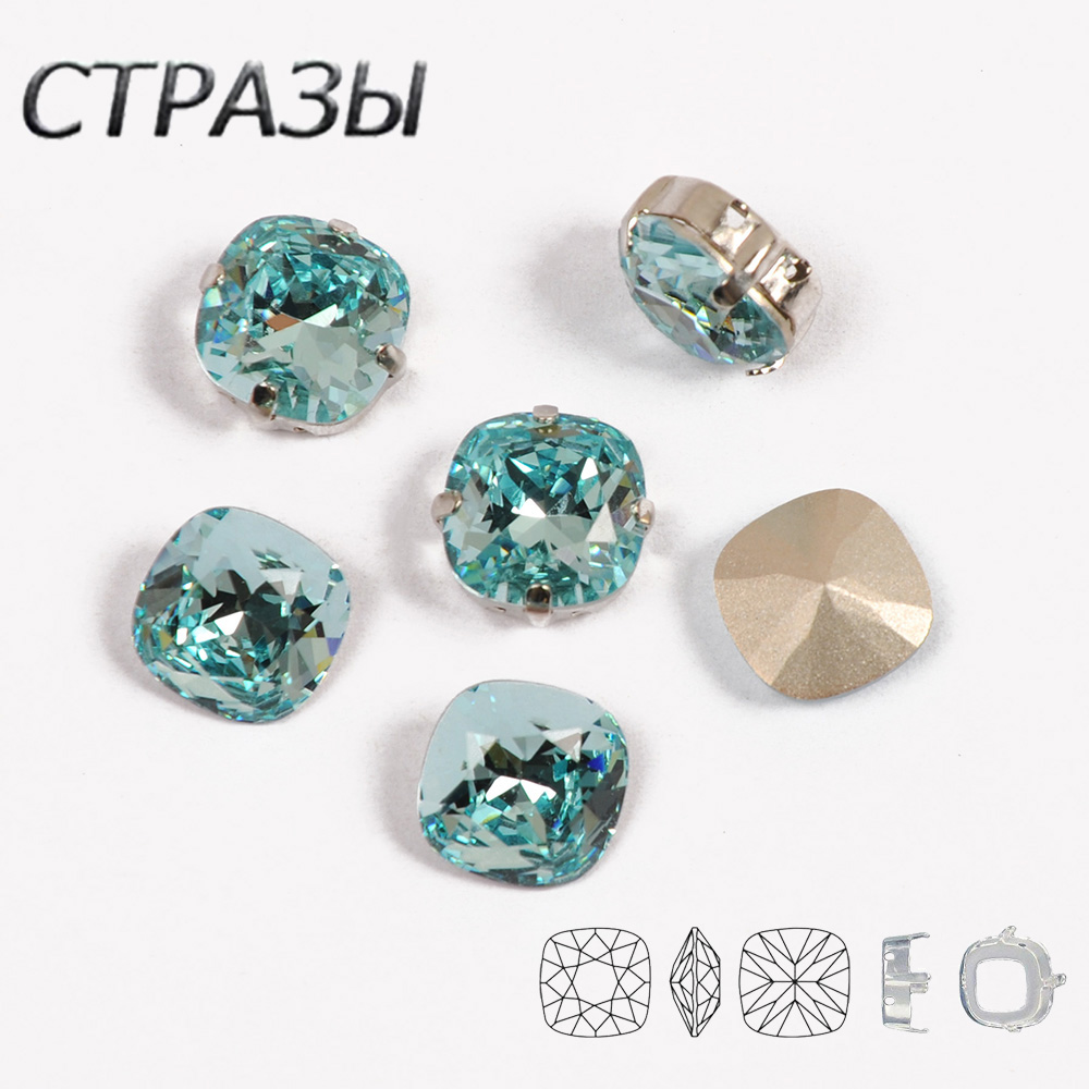 4470 Cushion Cut Strass With Silver Gold Settings Claws Sew On Rhinestones Fancy Stones For DIY Clothing Jewelry Garment