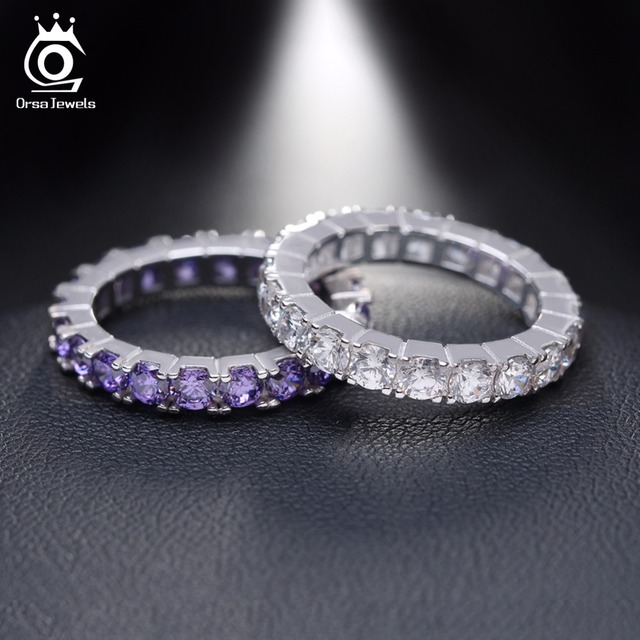 ORSA JEWELS Luxury Austrian Crystal Finger Eternity Ring with Purple or Clear AA