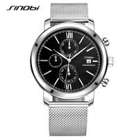 SINOB Brand Mens WatchesStainless Steel Mesh Strap Fashion Watch Men Relojes Hombre 2017 Multifunction Sport Quartz
