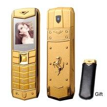 Mafam A8 Русский Арабский испанский французский вибрации Роскошный металлический корпус автомобиля логотип две sim-карты мобильный телефон с кожаный чехол Подарок P234