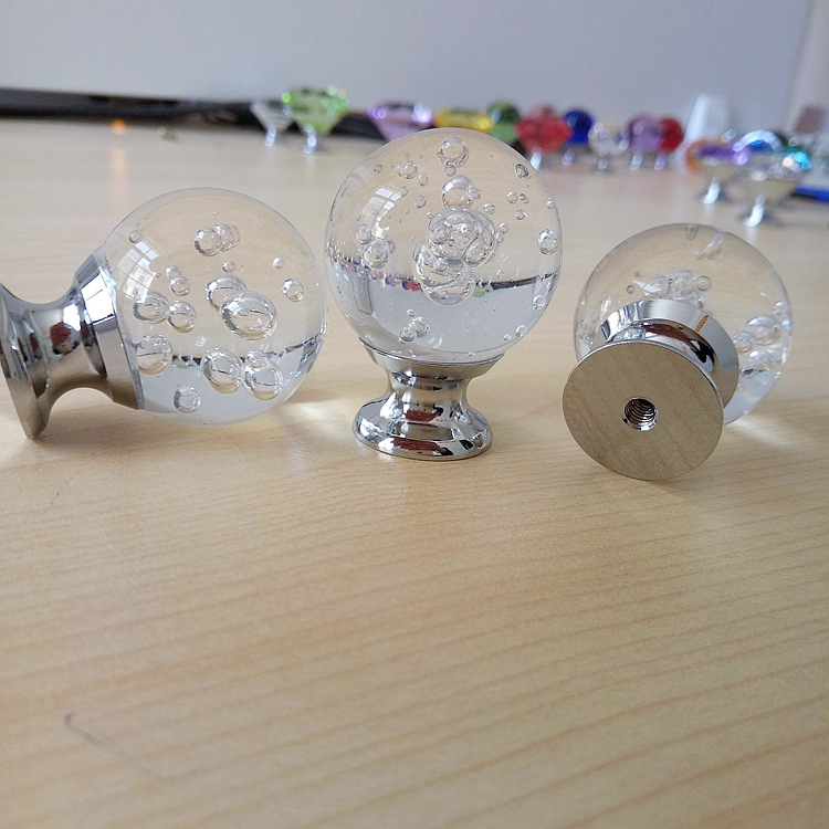30mm Crystal Glass Bubble Ball Handle Dresser Drawer Cabinet Wardrobe Pull Handle Kitchen