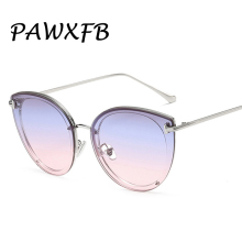 PAWXFB 2019 sexy cat eye sunglasses fashion brand designer womens gradient UV400