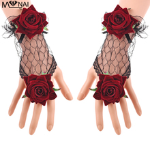 Decorated Lolita Cuffs Rose hollow Organ Fake Decorative Vintage Lace Sleeves Cuff Wrist Gothic