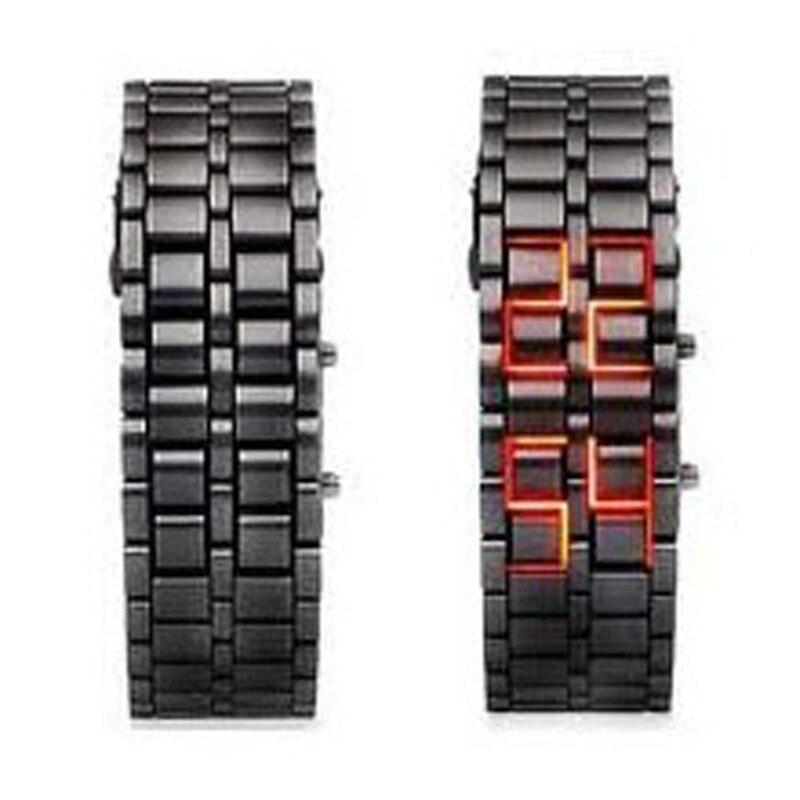 SELFLOVER Men's Lava Black Stainless Steel Lava RED LED Digital Bracelet Watch Red #220717 stylish 8 led blue light digit stainless steel bracelet wrist watch black 1 cr2016