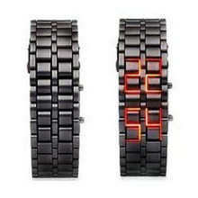 SELFLOVER Men's Lava Black Stainless Steel Lava RED LED Digital Bracelet Watch Red #220717