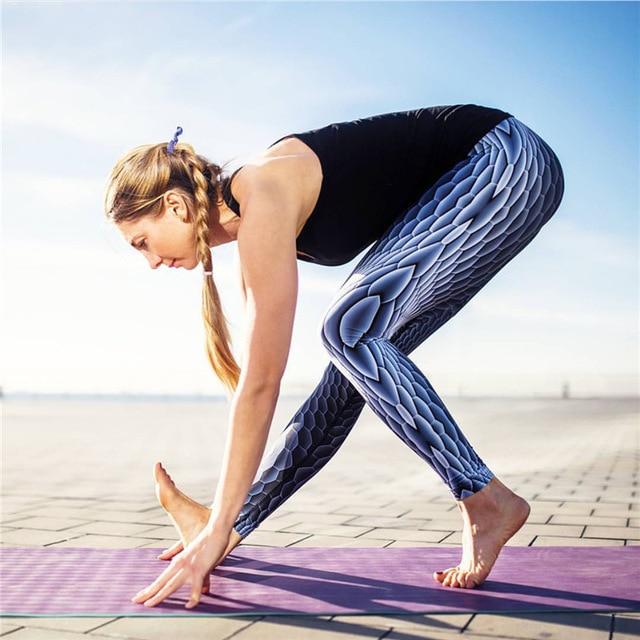 Леггинсы павлин масштаб пот тренировки одежда для женщин женский фитнес блестящие рыбьей чешуи штаны тощие спортивные штаны T234