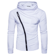 New 2017 style Fashion solid color Hoodies sweat Mens turtleneck Diagonal zipper jacket hoodie Sweatshirt Men Hoody size S-2XL