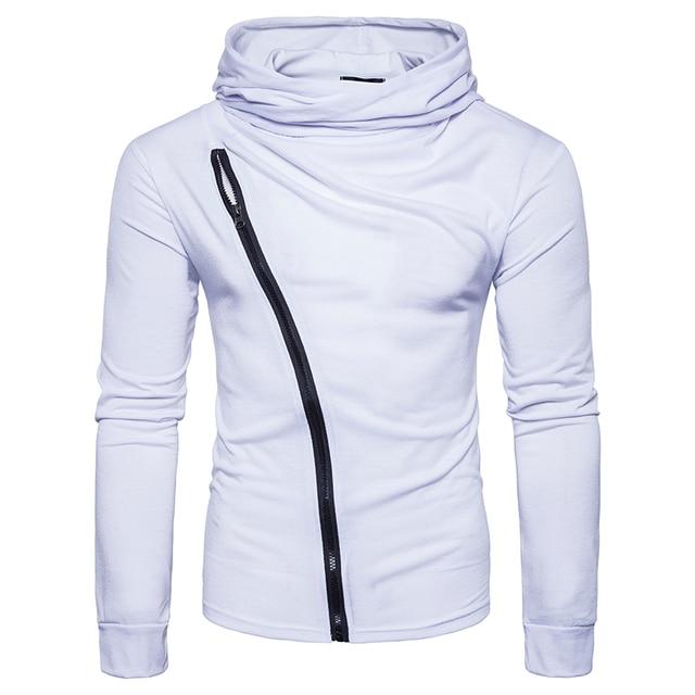 New 2017 style Fashion solid color Hoodies sweat Men's turtleneck Diagonal zipper jacket hoodie Sweatshirt Men Hoody size S-2XL