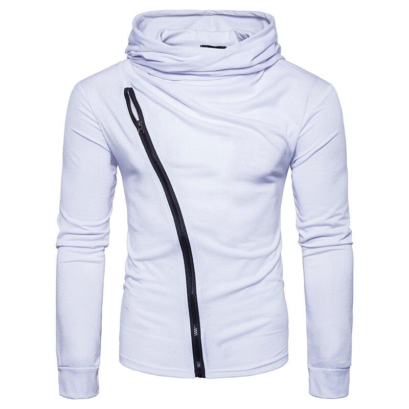 New 2017 style Fashion solid color Hoodies sweat Men's turtleneck Diagonal zipper jacket hoodie Sweatshirt Men Hoody size S 2XL