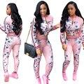 Осень женщины Мода Стиль Sexy Спортивная Розовый Печати Двух Частей Набор Популярные 2 Шт. Тонкий Костюм комбинезон Тощий Полная Длина