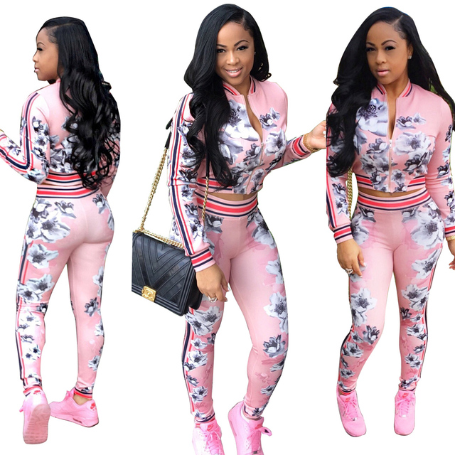 Autumn women Fashion Style Sexy Sportswear Pink Printing Two Piece Set Popular 2 Piece Slim Suit jumpsuit Skinny Full Length