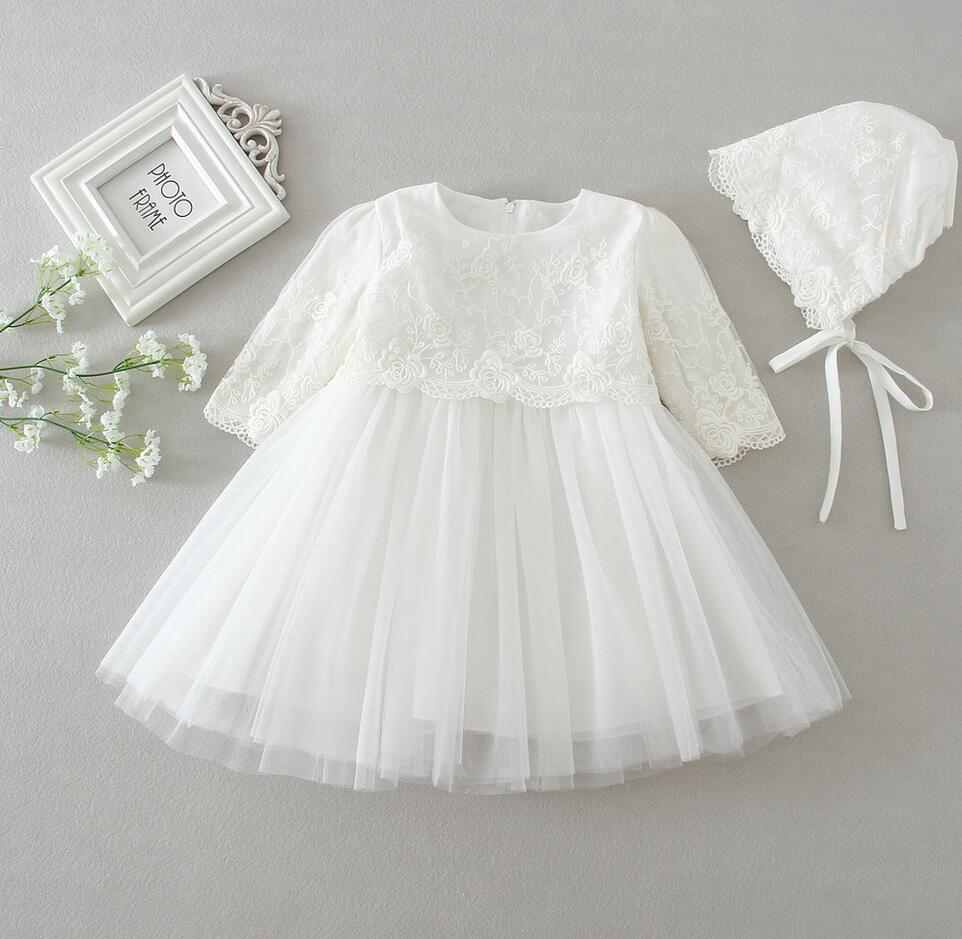 2PCs Sets Beige Off White Baby Girl Baptism Christening Easter Gown Dress Lace Flower Girl Party