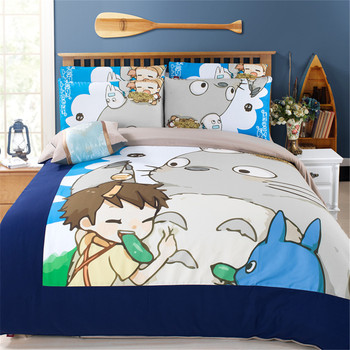 Japanese printed 3D Anime One Piece Totoro Bedding 3/4pcs Twin Queen King Size Duvet Cover sets flat sheet teen kid bedroom sets