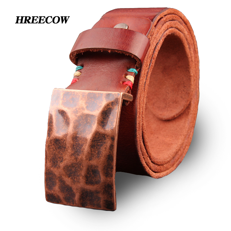 Fashion Ancient Smooth Buckle Homme Cowhide Genuine Leather Belt Designer Belts Men High ...