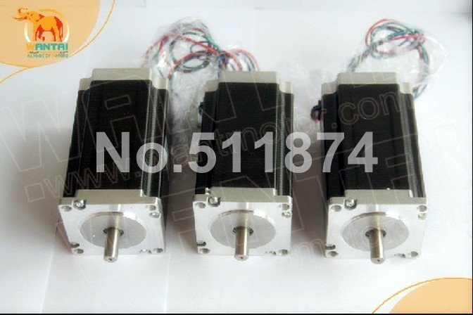 Cheap CNC! Wantai 3PCS Nema 23 Stepper Motor Dual Shaft 57BYGH115-003B 3.0A 425oz-in 115mm CE ROHS ISO Embroidery 3D Printer dual shaft nema 17 stepper motor 52n cm 72 oz in body length 48mm ce rohs cnc 3d printer motor