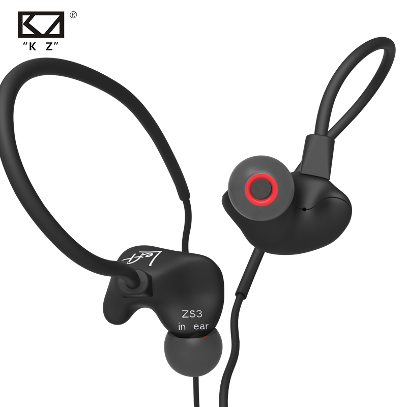 New In Ear Headphones KZ ZS3 Stereo Headset Running Sport Earphone Noise Cancelling Earbuds Headphones With Mic Fone De Ouvido