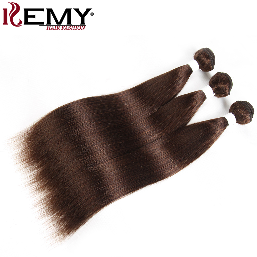 Medium Brown 4# Brazilian Straight Human Hair Weave Bundles KEMY HAIR Pre-Colored 100% Human Hair Bundles Deal Non-Remy Hair