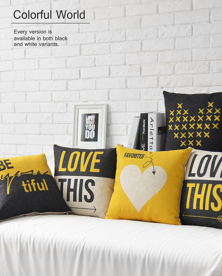 Black Pillow Case Yellow Love Decorative Pillows Cover Linen Cotton Cushion Home Decor Couch For Sofa In From Garden