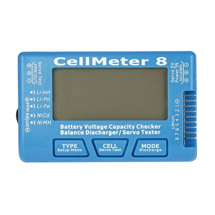 <font><b>Battery</b></font> Capacity Checker Servo Tester RC CellMeter 8 with LED Backlight for 2-8S LiPo LiFe Li-ion <font><b>NiMH</b></font> Nicd