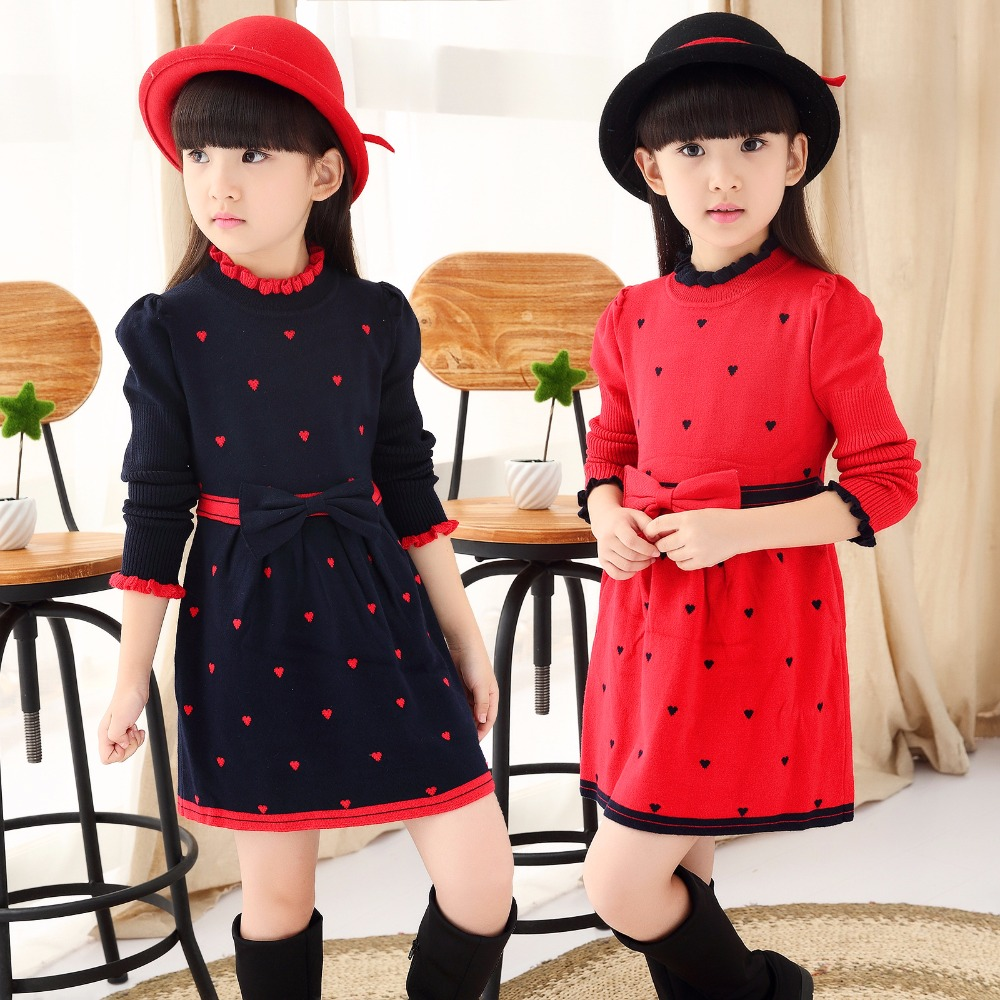 2018 Girls Clothes Autumn Winter Wool Turtleneck Bow Girl Dress Children Clothing Princess Dresses 6-15 years Old Kids Clothes autumn winter female long wool knitted dresses turtleneck slim lady accept waist package hip pullovers sweater dress for women