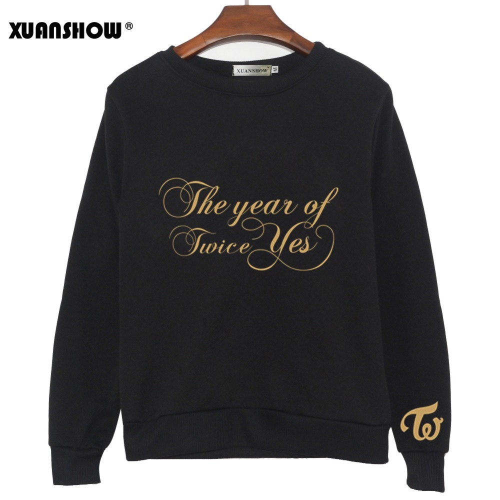 XUANSHOW Kpop TWICE THE YEAR Of YES New Album Sweatshirts Women 2020 Long Sleeve Crew Neck Printed Pullovers Fleece Tops S-XXL
