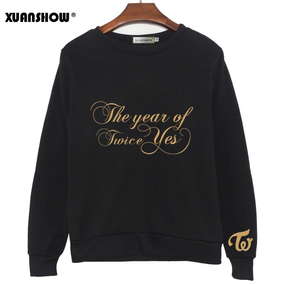 XUANSHOW Kpop TWICE THE YEAR Of YES New Album Sweatshirts Women 2020 Long Sleeve Crew Neck Printed Pullovers Fleece Tops S-XXL