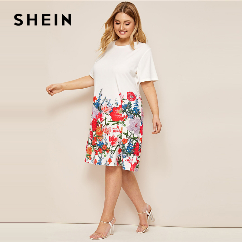 SHEIN Plus Size White Floral Print Tee Dress 2019 Women Summer Casual Shift Round Neck Short Sleeve Straight Officewear Dresses