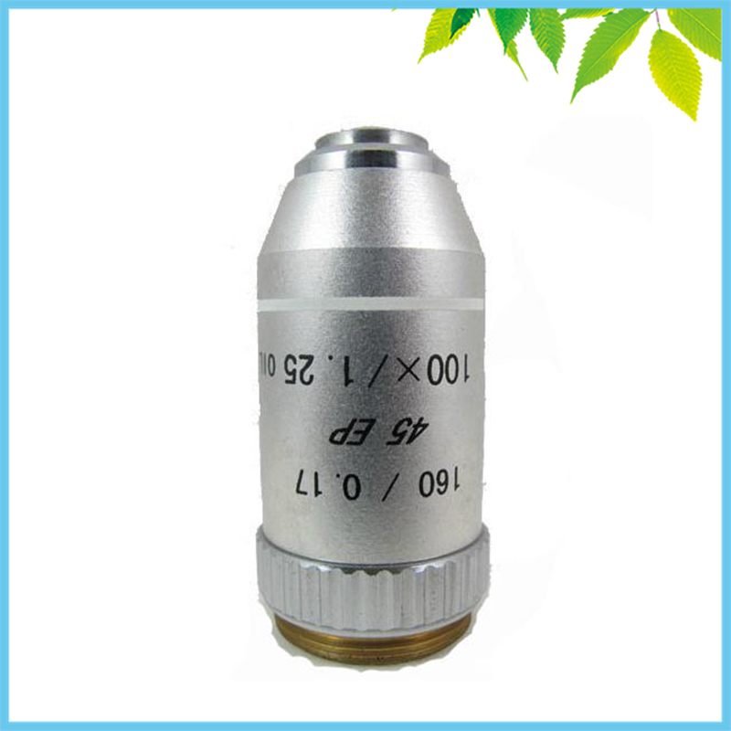 Conjugate Distance 195 Universal Metal 100X Semi Flat-field Achromatic Objective Lens for Biological Microscope