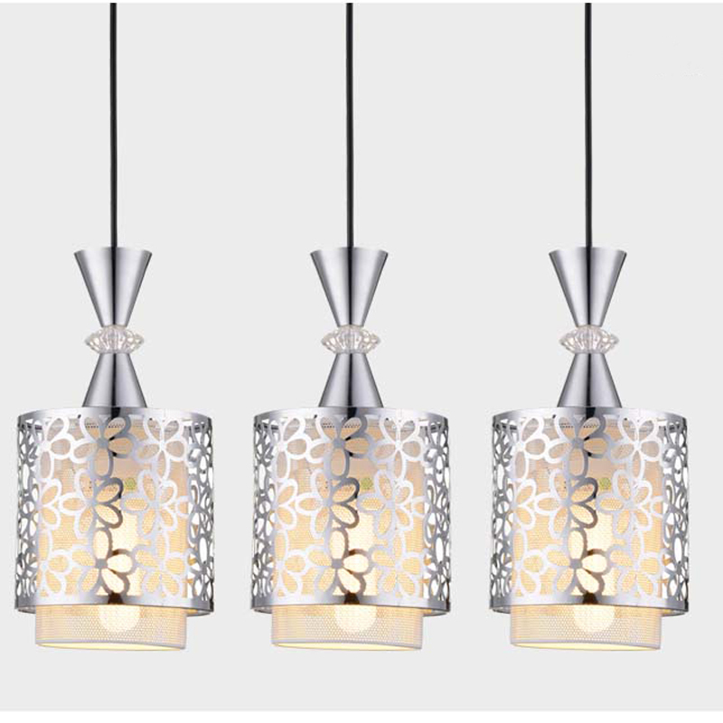 ФОТО New Modern Crystal Bar Pendant Lamp Glass Iron Suspension Light For Dinning Room 3 Heads Lamps PL431