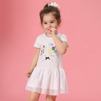 2016 Baby Girls Cotton Dresses 2 3 4 5 6 7 8T Years Old Kids Blue White Pink Birds Characters Design for Toddlers Fashion Kawaii