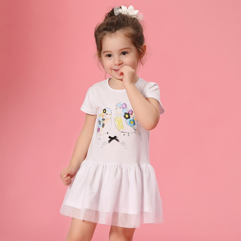 2017 Baby Girls Cotton Dresses 2 3 4 5 6 7 8T Years Old Kids Blue White Pink Birds Characters Design for Toddlers Fashion Kawaii river old satellite maxima vespa 7 6 гр код цв 13