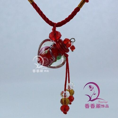 2 шт Духи из муранского стекла ожерелье s, ароматические флаконы, стеклянные подвески для духов, парфюмерное ожерелье флакон - Окраска металла: red