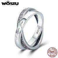 WOSTU Neue 100% 925 Sterling Silber Süße Versprechen Ring, Dazzling CZ Fingerring für Frauen Edlen Schmuck Geschenk SDP7651