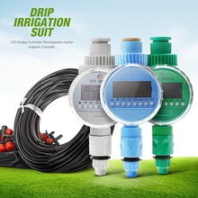 LCD Display Automatic Rechargeable Garden Irrigation Controller Ball Valve Watering Timer Watering Kits Drip Irrigation Suit