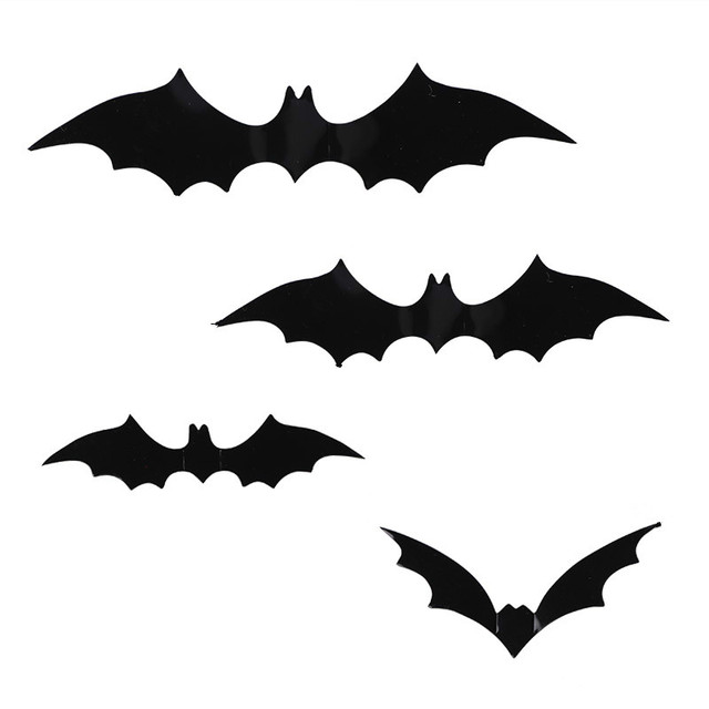 12pcs Black Pvc Bat Diy Decor Wall Sticker For Party Bar Haunted House Decoration Supplies Batman