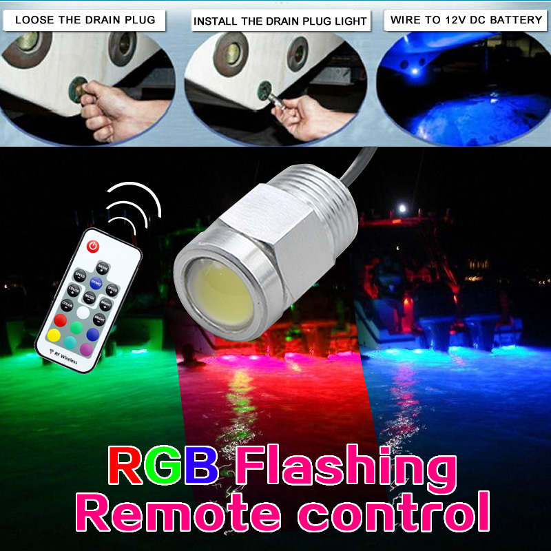 RGB LED Yacht Light Part 12V DC Boat Marine Lighting Bulb Red/Green/Blue 12W Remote Controller Dynamic Color Stainless
